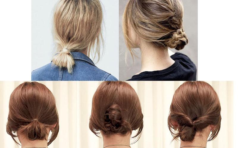 Kiểu tóc ngắn buộc thấp chải mượt