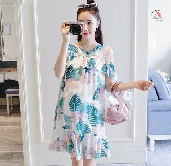 Váy đầm bầu có họa tiết hoa lá