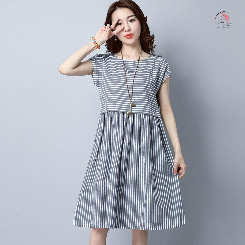 Kiểu váy đầm bầu sọc dọc