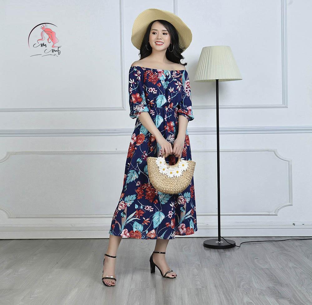 Váy đầm maxi in họa tiết