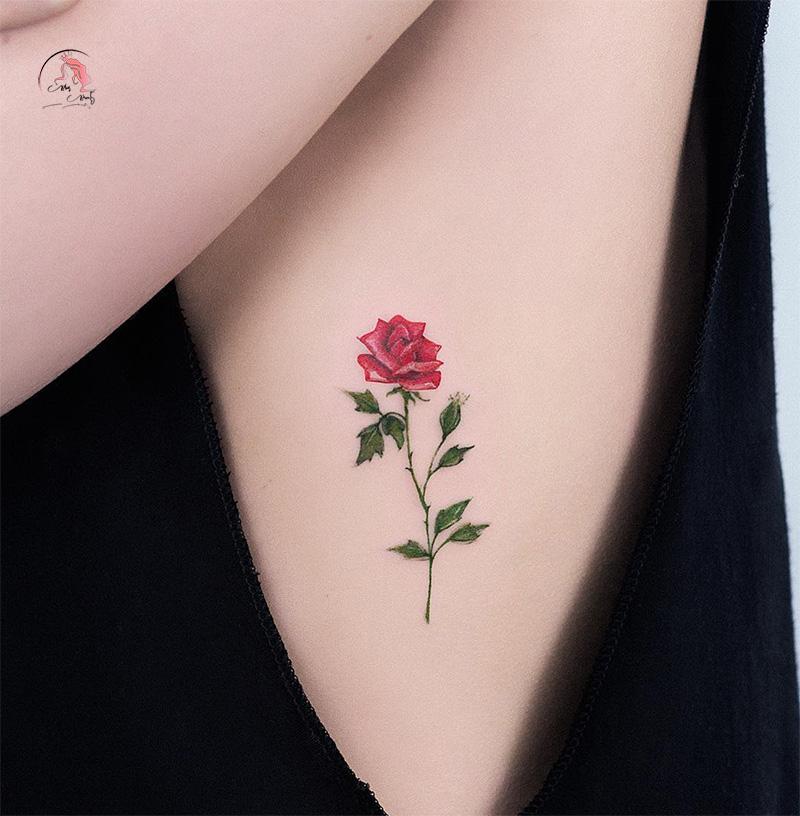 Hình xăm mini bông hồng