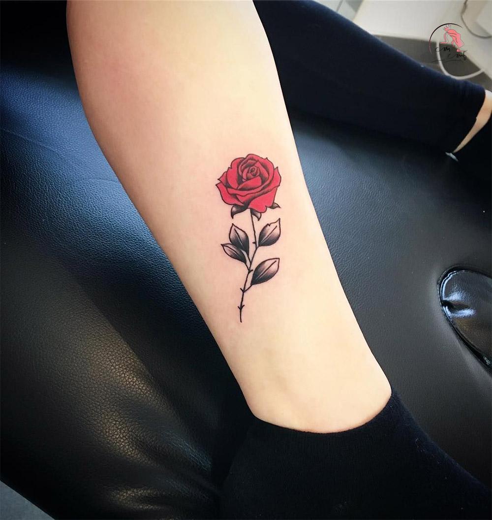 Hình xăm hoa hồng đỏ