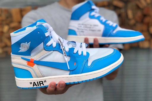Cận cảnh Nike Jordan 1 Off White - Blue